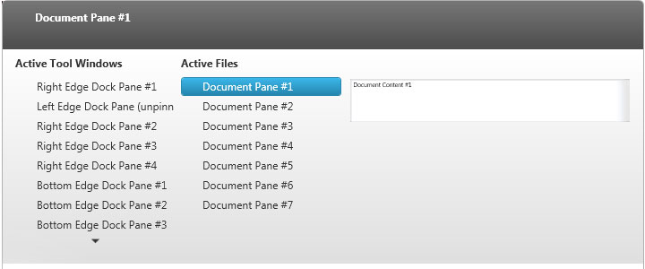 Users can preview different content panes with the WPF dock manager content pane navigator feature.