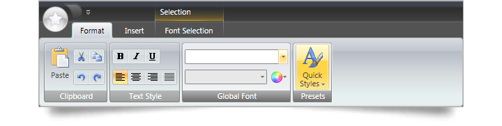 Users can recreate the exact look and feel of the Microsoft Office 2007 Fluid ribbon.