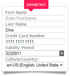 Prompt users to enter text in a particular field with watermark-type suggestions.